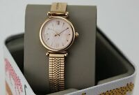 NEW AUTHENTIC FOSSIL CARLIE MINI ROSE GOLD PINK MOP MESH WOMEN'S ES4697 WATCH