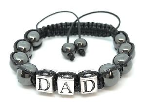 Shamballa Gemstone Bracelet Fathers Day Gift DAD Hematite Energy Made UK