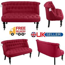 Modern Rose Red Sofa Tub Chair Matching Buttons Comfortable Design Wooden Legs