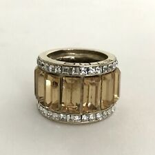ETRO Gold Plated Baguette Yellow Sapphire / Cubic Zirconia Chunky Band Ring