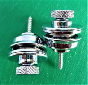 2 Flat-Head-Round-Strap-Lock-For-Electric-Acoustic-Guitar-Bass Silver