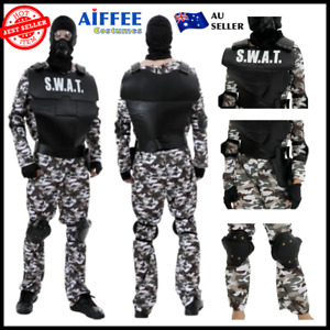 SWAT Adult Costume Mens Commander Military Police Outfit Fancy Dress Halloween