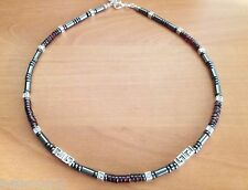 Handmade Necklace With Natural Black Hematite,Natural Garnet Gems.