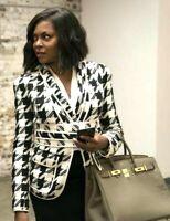 $1,950 Pierre BALMAIN Belted Houndstooth Tweed Blazer Jacket US 10 12 / FR 44