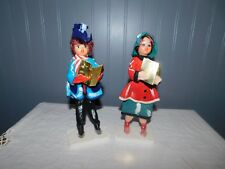 Set of 2 Vintage Christmas Carolers Plastic Faces/Fabric-Mica Base -Japan