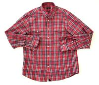 UNTUCKit Button Front Red Striped Plaid Mens Shirt Size Large Slim Fit