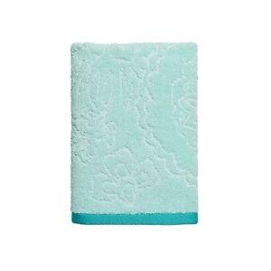 One Home Azalea Aqua Teal Blue Sculpted Floral Bathroom Hand Towel NEW