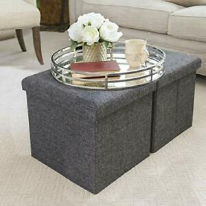 Foldable Storage Ottoman Footrest Toy Box Coffee Table 2-Pack Modern Gray Cube