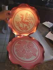 "Lot of 2 Vintage Aluminum Pink serving tray - reindeer flower  11.75""  LUD"