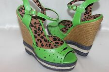 NEW! JESSICA SIMPSON Kelly Green TRERNDY Jute Trimmed Wedge Peep Toe Sandals 8.5