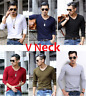 Fashion Men Crew Neck Long Sleeve T-Shirt Slim Fit Casual Solid Color Basic Tee