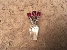 Swarovski Crystal Six Red Roses In A Vase Gift For Love Boxed              (084)