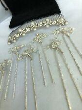 Wedding Bridal Hair Comb Pins Rhinestone Crystal Pearl Silver Set
