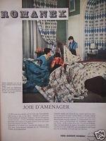 PUBLICITÉ 1960 ROMANEX TISSU GARANTI BOUSSAC - ADVERTISING