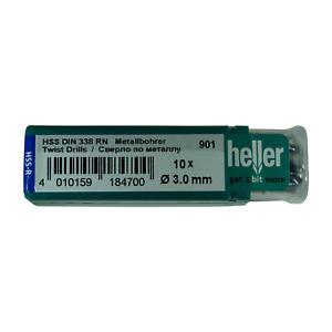 Heller 3mm HSS-R Twist Metal Drill Bits 10 Pack Rolled HSS Jobber - German Tools