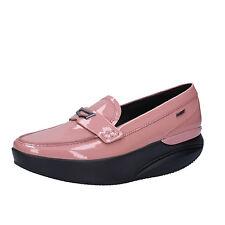 scarpe donna MBT 37 mocassini rosa vernice AC414-B