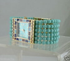 METROPOLITAN MUSEUM ART MMA WRIST WATCH ENAMEL GOLD PLATED TURQUOISE BEAD BAND