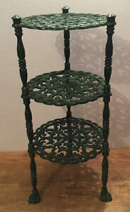 VINTAGE GREEN ORNATE CAST IRON 3 TIER SAUCEPAN POT STAND 61cm Tall X 27cm Wide