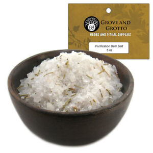 Purification Bath Salts 5 oz Ritual Herbal Salt Blended & Charged for Cleansing