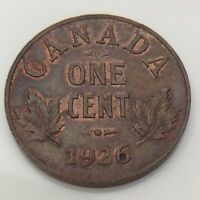 1926 Canada 1 One Cent Copper Penny Canadian Circulated Coin F649