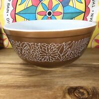 Pyrex Woodland Brown Floral 403 Mixing Bowl Kitchen White Glass Dish Cook Vtg
