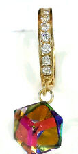 14k Gold Earrings  dangling hughes with rainbow stone  ON SALE