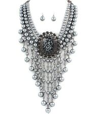 Necklace Set Layered Pearl Beads Tassel Leopard Gray Women Jewelry