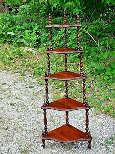 Victorian Antique Walnut 5 tier whatnot etagere Corner shelf