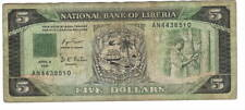 LIBERIA $5 Dollars VF Banknote (1991) P-20 Prefix AN Paper Money