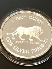 Ultra Rare 1984 Lion & Coeur D'Alene Mines 1 Troy Oz .999 Fine Silver Proof Coin