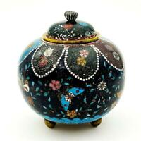 JAPANESE MEIJI PERIOD CLOISONNE JAR / POT c1900 Butterflies & Flowers
