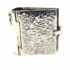 VICTORIAN STYLE BOOK FAMILY PENDANT LOCKET 925 SOLID STERLING SILVER