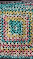 hand crocheted small dolls blanket - 40cm x 40cm