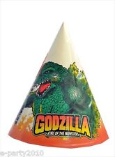 GODZILLA VINTAGE CONE HATS (8)~ Rare Birthday Party Supplies Paper Favors