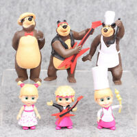 """6pcs Masha And The Bear Action Figure Cute Doll Cake Topper Play set Toy Gift 4"""""""