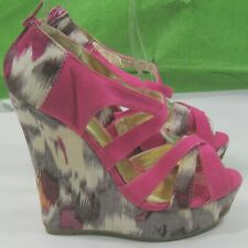 """New Ladies Pink/ MultiColor 5.5 """"Wedge Heel 1.5""""  Open Toe Ankle Sexy Size 6.5"""