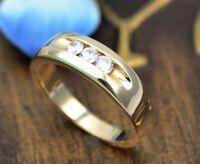 0.50 Ct Round 3-Stone Diamond Channel Set Mens Wedding Band 14k Yellow Gold GP