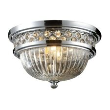 "ELK Lighting Flushmounts 2-Light 8"" Flush, Chrome/Glass & Crystal - 11225-2"