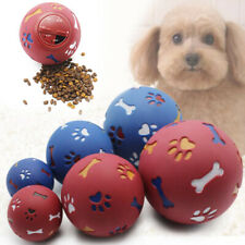 Pet Dog Puppy Cat Training Dental Toy Rubber Ball Chew Treat Dispensing Holder #