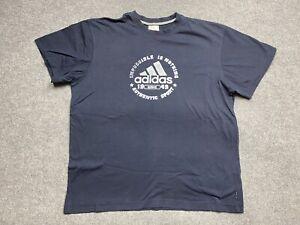 Adidas Shirt Mens Extra Large Centre Graphics Print Adult Tee T Crew Neck Navy