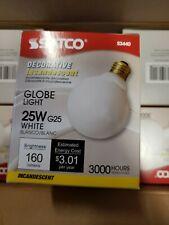 LOT of 6  SATCO DECORATIVE INCANDESCENT 25W G25 WHITE GLOBE LIGHT BULBS S3440