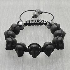 Macrame Knot Cord Shamballa Black Turquoise Skeleton Skull Head Hematite L58