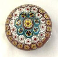"Art Glass Millefiori Paperweight Multicolor Cones 3 1/2"""