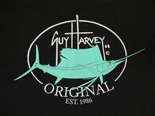 Guy Harvey Original Bolsillo Camiseta 2 Sided Pez Espada Est 1986-BLACK XL