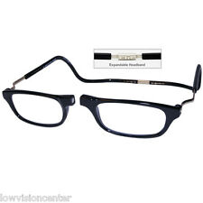 CliC +2.0 Diopter Magnetic Reading Glasses: Expandable - Black