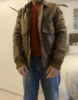 Zara Pure Leather Brown Jacket Mens (Size 40)