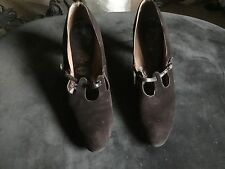 Vintage  1920s original,dark brown suede  ,leather Shoes size 8.5 , 9