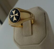 new yellow gold signet ring oval large solid malta cross black enamel all size