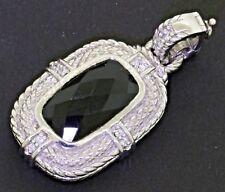 Judith Ripka Sterling silver amazing 16.8 X 10mm Cushion onyx & CZ pendant