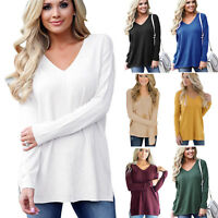 Women Solid V Neck Long Sleeve T Shirt  Tops Ladies Baggy Casual Pullover Blouse